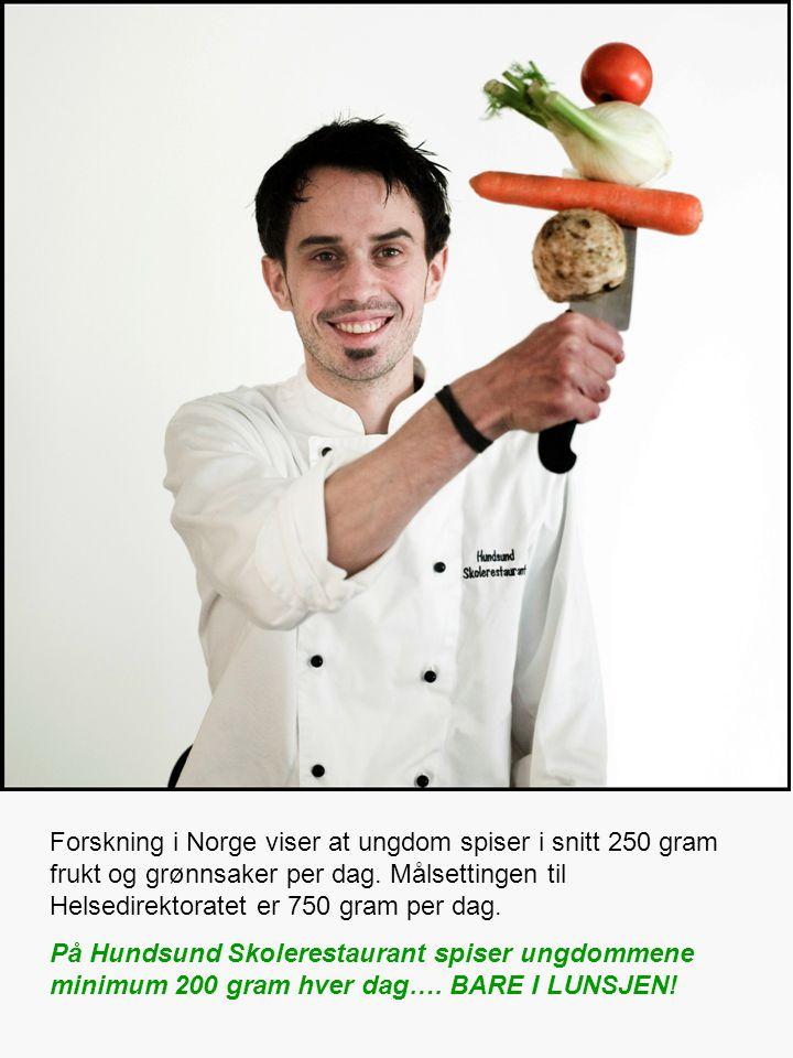 Forskning i Norge viser at ungdom spiser i snitt 250 gram frukt og grønnsaker per dag.
