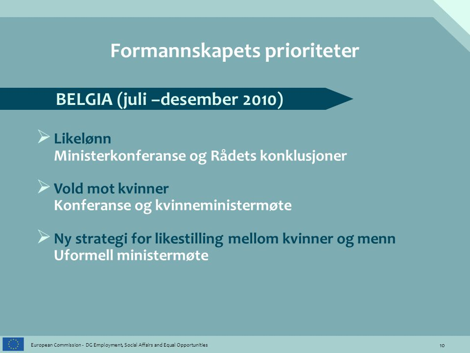 10 European Commission - DG Employment, Social Affairs and Equal Opportunities Formannskapets prioriteter BELGIA (juli –desember 2010)  Likelønn Mini