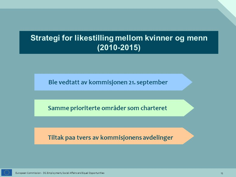 12 European Commission - DG Employment, Social Affairs and Equal Opportunities Strategi for likestilling mellom kvinner og menn (2010-2015) Ble vedtatt av kommisjonen 21.