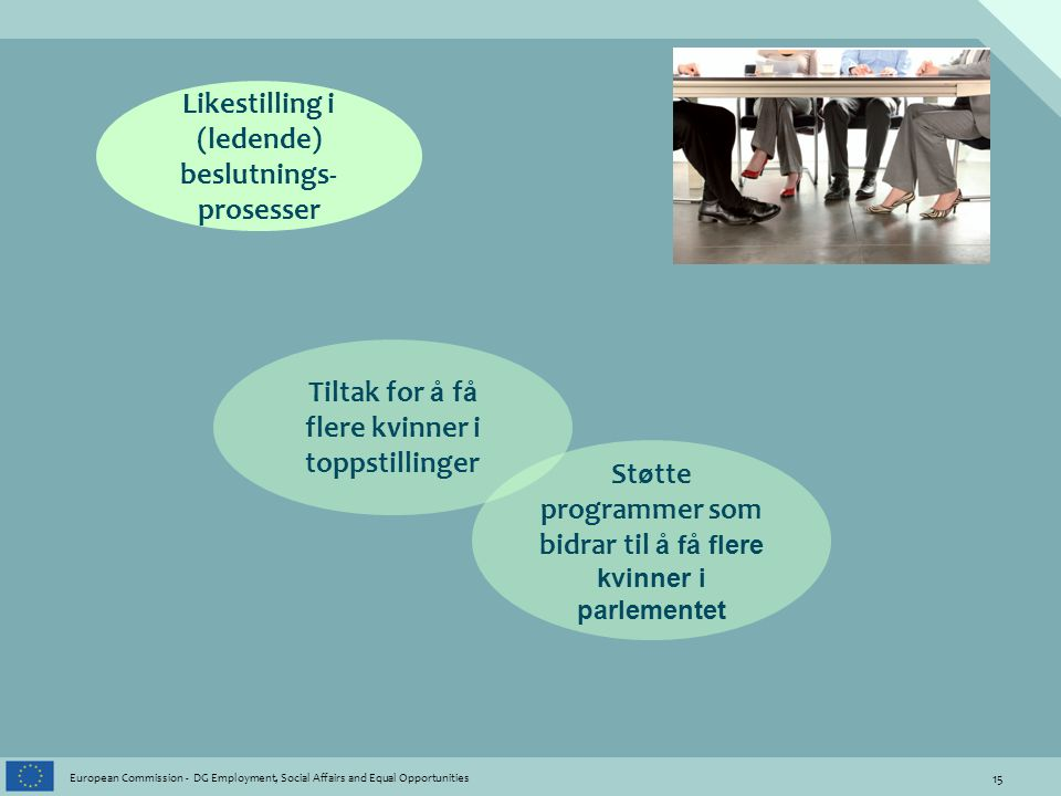 15 European Commission - DG Employment, Social Affairs and Equal Opportunities Likestilling i (ledende) beslutnings- prosesser Tiltak for å f å flere
