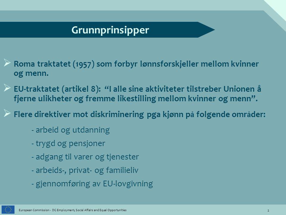 13 European Commission - DG Employment, Social Affairs and Equal Opportunities Lik økonomisk uavhengighet Integrere kjønnsperspektivet i Europa 2020 strategien Rapport om barnehagedekning i medlemslandene Vurdere rettigheter mht foreldrepermisjoner