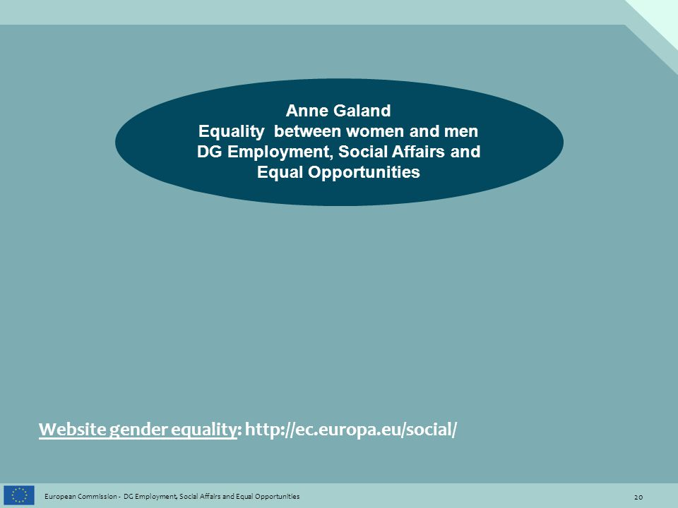 20 European Commission - DG Employment, Social Affairs and Equal Opportunities Website gender equality: http://ec.europa.eu/social/ Anne Galand Equality between women and men DG Employment, Social Affairs and Equal Opportunities
