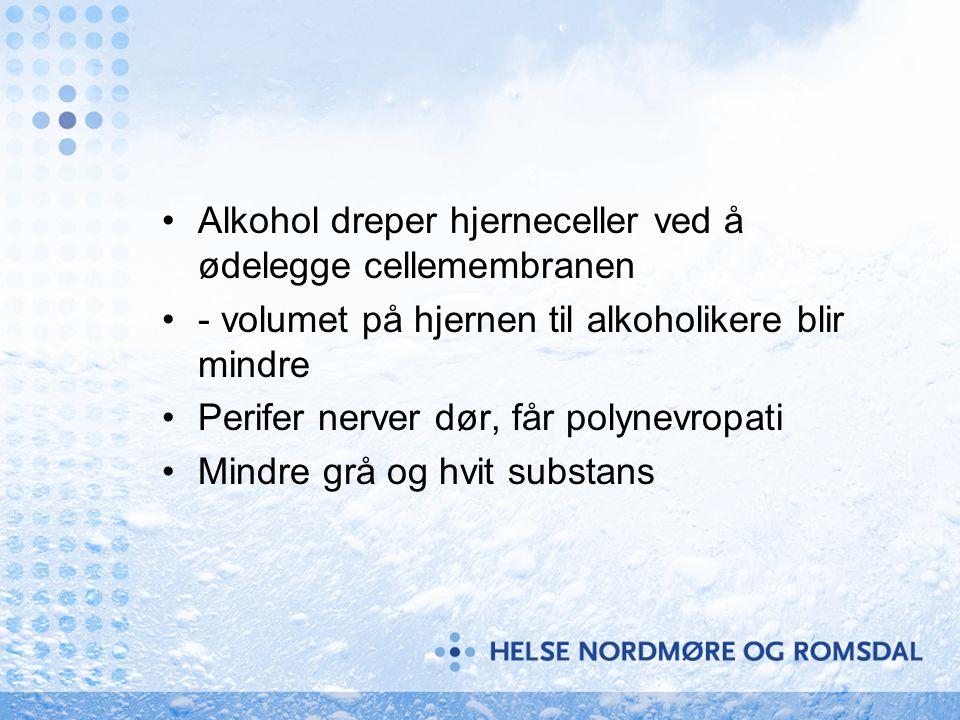 •Alkohol dreper hjerneceller ved å ødelegge cellemembranen •- volumet på hjernen til alkoholikere blir mindre •Perifer nerver dør, får polynevropati •
