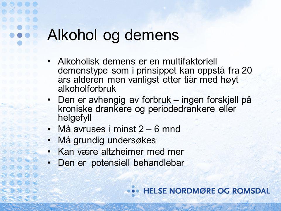 Alkohol og demens •Alkoholisk demens er en multifaktoriell demenstype som i prinsippet kan oppstå fra 20 års alderen men vanligst etter tiår med høyt