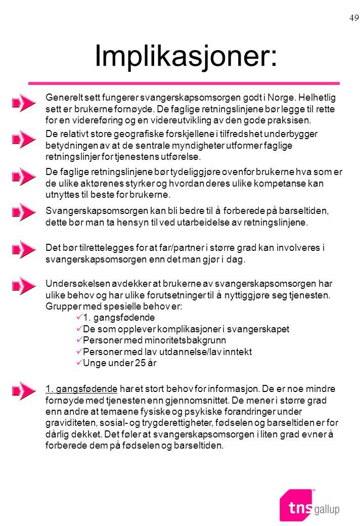 49 Implikasjoner: Generelt sett fungerer svangerskapsomsorgen godt i Norge. Helhetlig sett er brukerne fornøyde. De faglige retningslinjene bør legge