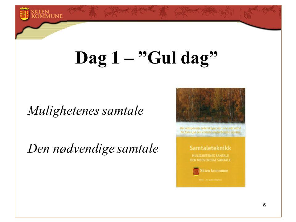 """6 Dag 1 – """"Gul dag"""" Mulighetenes samtale Den nødvendige samtale"""