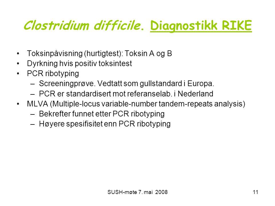 SUSH-møte 7. mai 200811 Clostridium difficile. Diagnostikk RIKE •Toksinpåvisning (hurtigtest): Toksin A og B •Dyrkning hvis positiv toksintest •PCR ri