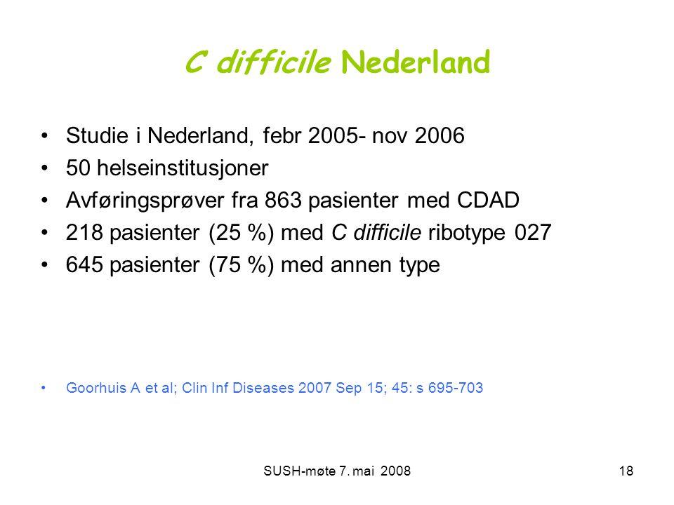 SUSH-møte 7. mai 200818 C difficile Nederland •Studie i Nederland, febr 2005- nov 2006 •50 helseinstitusjoner •Avføringsprøver fra 863 pasienter med C