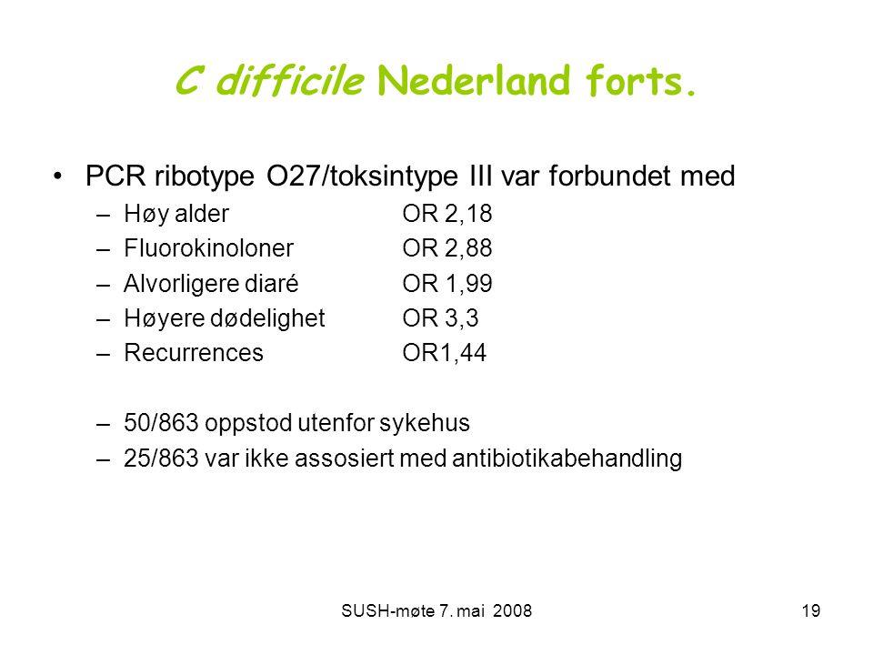 SUSH-møte 7. mai 200819 C difficile Nederland forts. •PCR ribotype O27/toksintype III var forbundet med –Høy alder OR 2,18 –Fluorokinoloner OR 2,88 –A