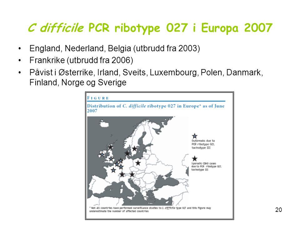 SUSH-møte 7. mai 200820 C difficile PCR ribotype 027 i Europa 2007 •England, Nederland, Belgia (utbrudd fra 2003) •Frankrike (utbrudd fra 2006) •Påvis