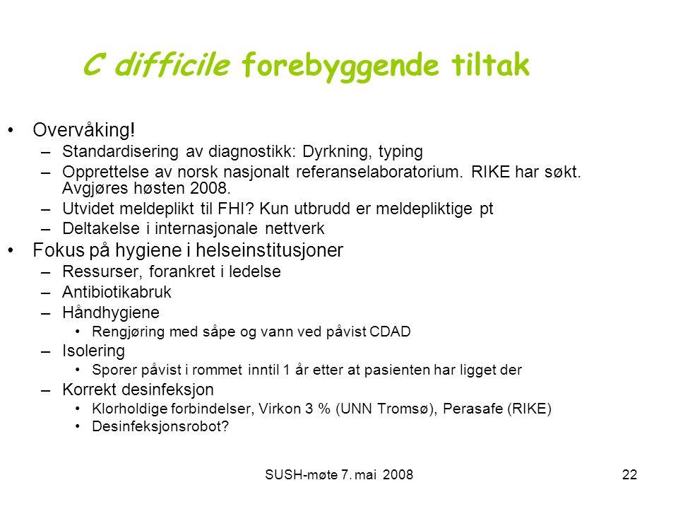 SUSH-møte 7. mai 200822 C difficile forebyggende tiltak •Overvåking! –Standardisering av diagnostikk: Dyrkning, typing –Opprettelse av norsk nasjonalt