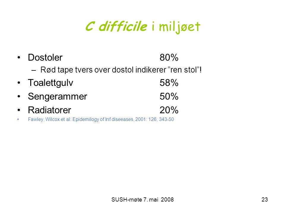 """SUSH-møte 7. mai 200823 C difficile i miljøet •Dostoler80% –Rød tape tvers over dostol indikerer """"ren stol""""! •Toalettgulv58% •Sengerammer50% •Radiator"""