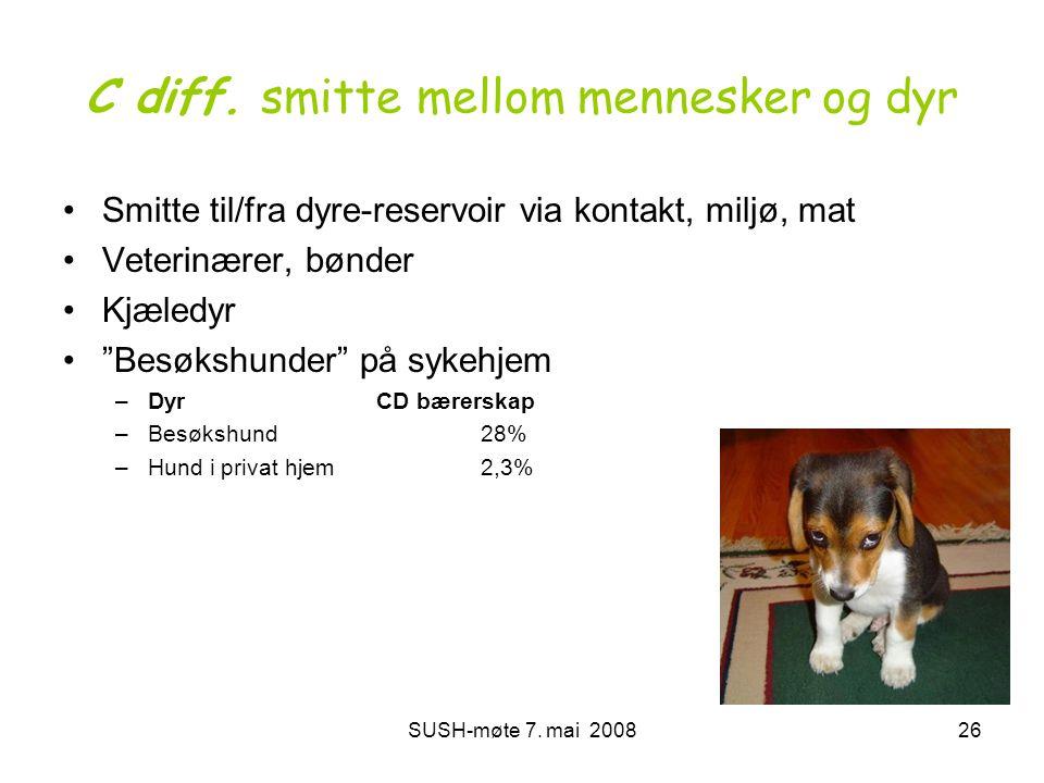 SUSH-møte 7. mai 200826 C diff. smitte mellom mennesker og dyr •Smitte til/fra dyre-reservoir via kontakt, miljø, mat •Veterinærer, bønder •Kjæledyr •
