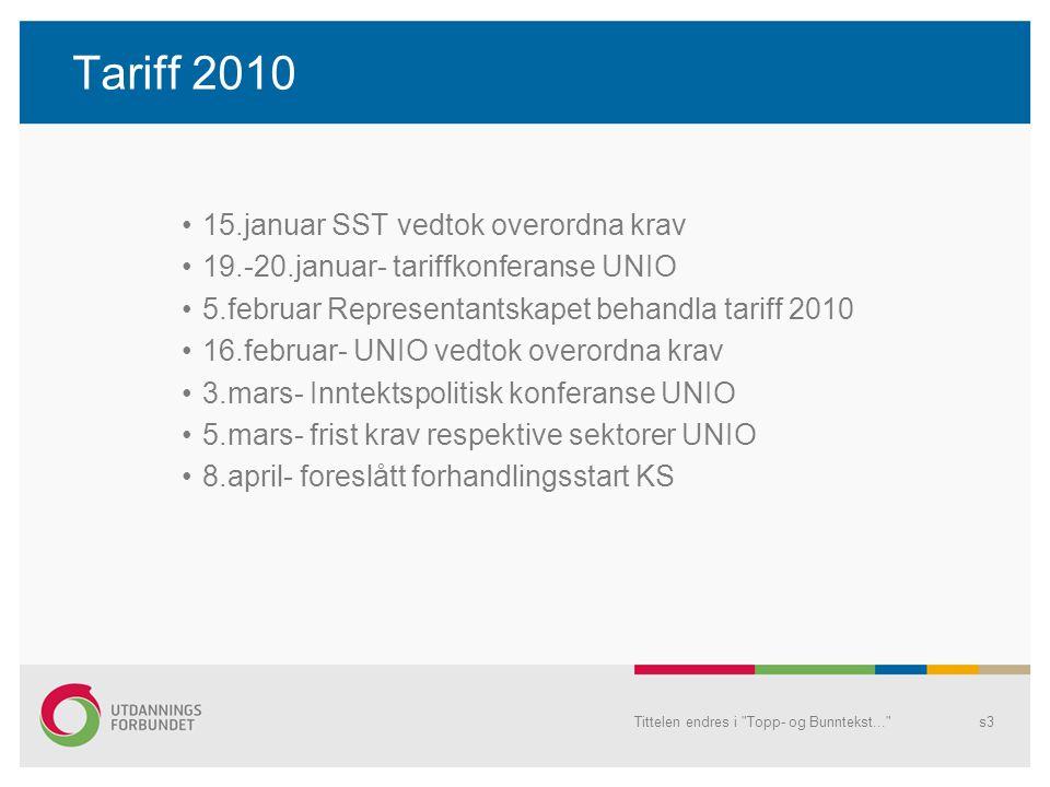Tariff 2010 •15.januar SST vedtok overordna krav •19.-20.januar- tariffkonferanse UNIO •5.februar Representantskapet behandla tariff 2010 •16.februar- UNIO vedtok overordna krav •3.mars- Inntektspolitisk konferanse UNIO •5.mars- frist krav respektive sektorer UNIO •8.april- foreslått forhandlingsstart KS Tittelen endres i Topp- og Bunntekst... s3