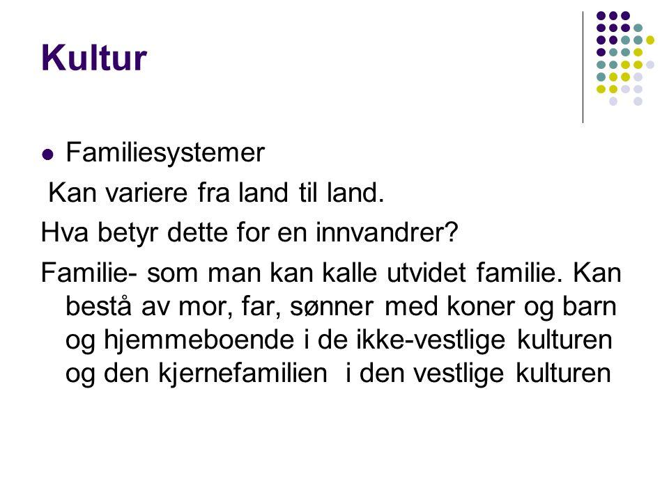 Kultur  Familiesystemer Kan variere fra land til land. Hva betyr dette for en innvandrer? Familie- som man kan kalle utvidet familie. Kan bestå av mo