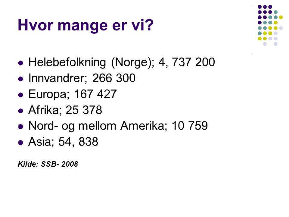 Hvor mange er vi?  Helebefolkning (Norge); 4, 737 200  Innvandrer; 266 300  Europa; 167 427  Afrika; 25 378  Nord- og mellom Amerika; 10 759  As