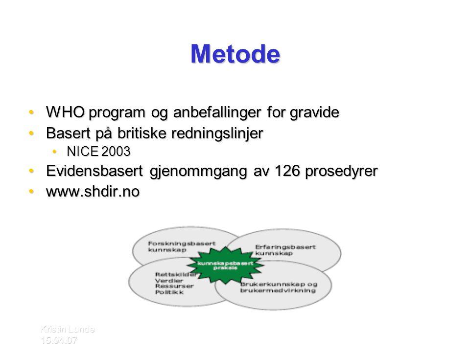 Kristin Lunde 15.04.07 Metode •WHO program og anbefallinger for gravide •Basert på britiske redningslinjer •NICE 2003 •Evidensbasert gjenommgang av 12
