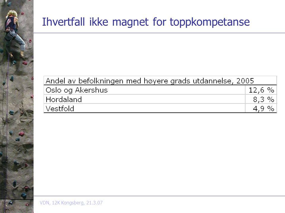 VDN, 12K Kongsberg, 21.3.07 Ihvertfall ikke magnet for toppkompetanse