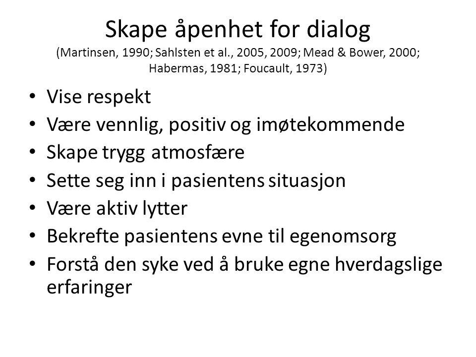 Skape åpenhet for dialog (Martinsen, 1990; Sahlsten et al., 2005, 2009; Mead & Bower, 2000; Habermas, 1981; Foucault, 1973) • Vise respekt • Være venn