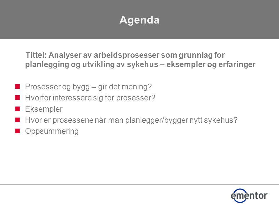 Agenda Tittel: Analyser av arbeidsprosesser som grunnlag for planlegging og utvikling av sykehus – eksempler og erfaringer  Prosesser og bygg – gir det mening.