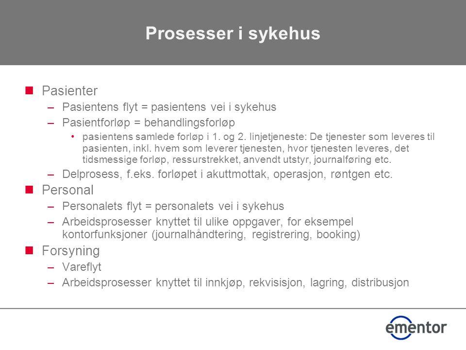 Prosesser i sykehus  Pasienter –Pasientens flyt = pasientens vei i sykehus –Pasientforløp = behandlingsforløp •pasientens samlede forløp i 1.
