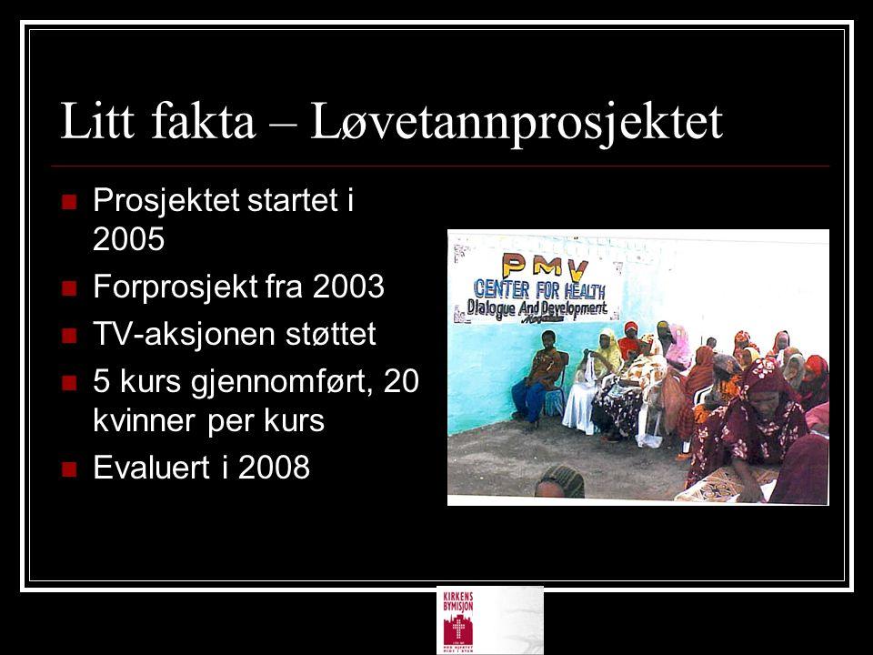 Litt fakta – Løvetannprosjektet  Prosjektet startet i 2005  Forprosjekt fra 2003  TV-aksjonen støttet  5 kurs gjennomført, 20 kvinner per kurs  E