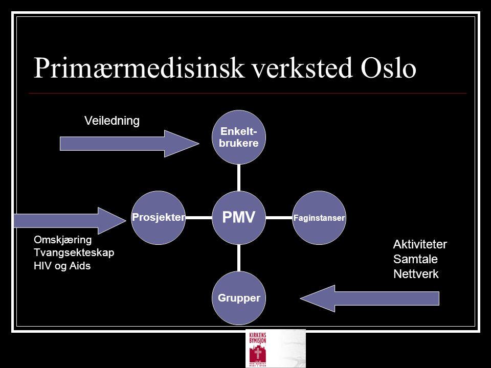 Primærmedisinsk verksted Oslo PMV Enkelt- brukere Faginstanser GrupperProsjekter Aktiviteter Samtale Nettverk Omskjæring Tvangsekteskap HIV og Aids Ve