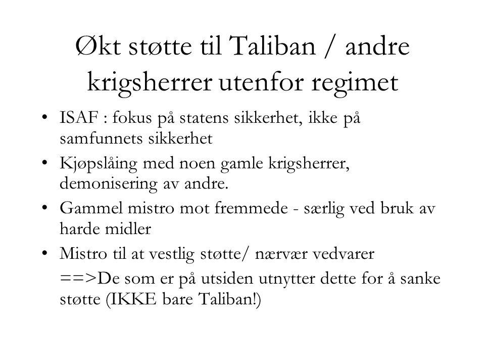 Økt støtte til Taliban / andre krigsherrer utenfor regimet •ISAF : fokus på statens sikkerhet, ikke på samfunnets sikkerhet •Kjøpslåing med noen gamle krigsherrer, demonisering av andre.