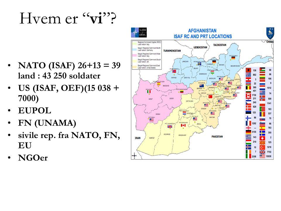 """Hvem er """"vi""""? •NATO (ISAF) 26+13 = 39 land : 43 250 soldater •US (ISAF, OEF)(15 038 + 7000) •EUPOL •FN (UNAMA) •sivile rep. fra NATO, FN, EU •NGOer"""