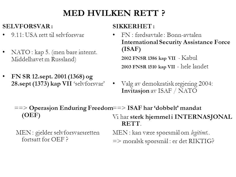 MED HVILKEN RETT ? SELVFORSVAR : •9.11: USA rett til selvforsvar •NATO : kap 5. (men bare internt. Middelhavet m Russland) •FN SR 12.sept. 2001 (1368)