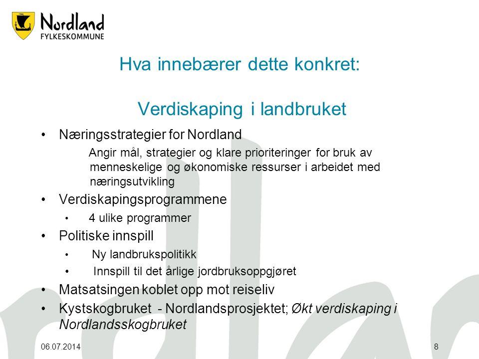06.07.20148 Hva innebærer dette konkret: Verdiskaping i landbruket •Næringsstrategier for Nordland Angir mål, strategier og klare prioriteringer for b