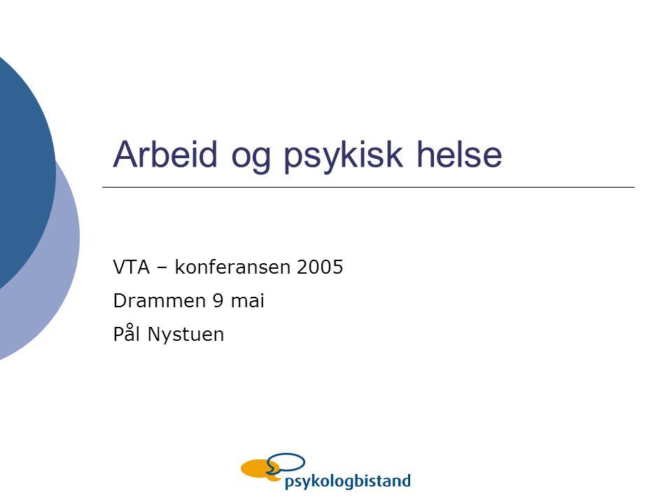 Arbeid og psykisk helse VTA – konferansen 2005 Drammen 9 mai Pål Nystuen