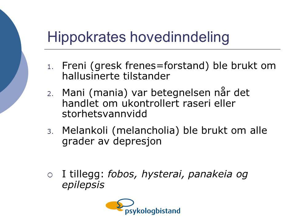 Hippokrates hovedinndeling 1. Freni (gresk frenes=forstand) ble brukt om hallusinerte tilstander 2. Mani (mania) var betegnelsen når det handlet om uk
