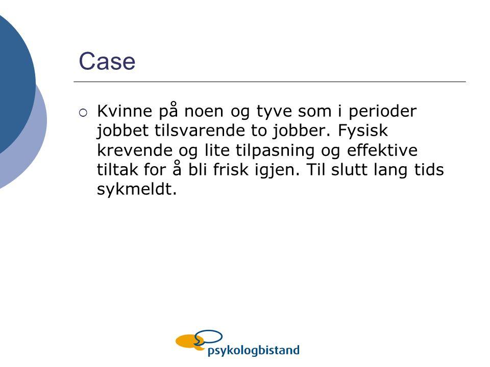 Case  Kvinne på noen og tyve som i perioder jobbet tilsvarende to jobber.