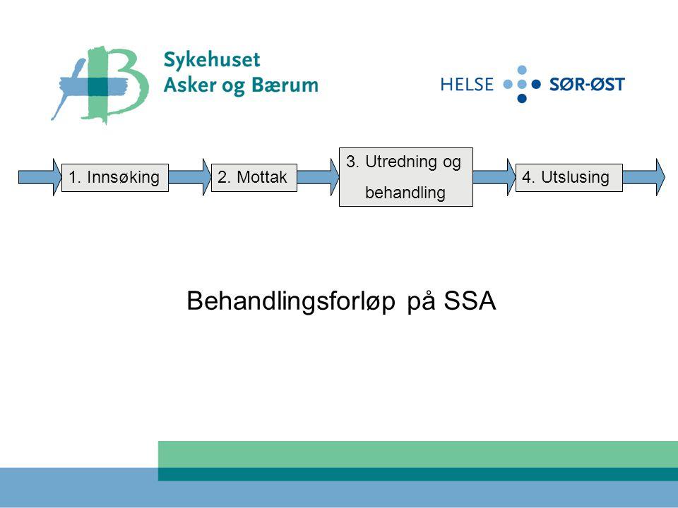 1. Innsøking2. Mottak 3. Utredning og behandling 4. Utslusing Behandlingsforløp på SSA