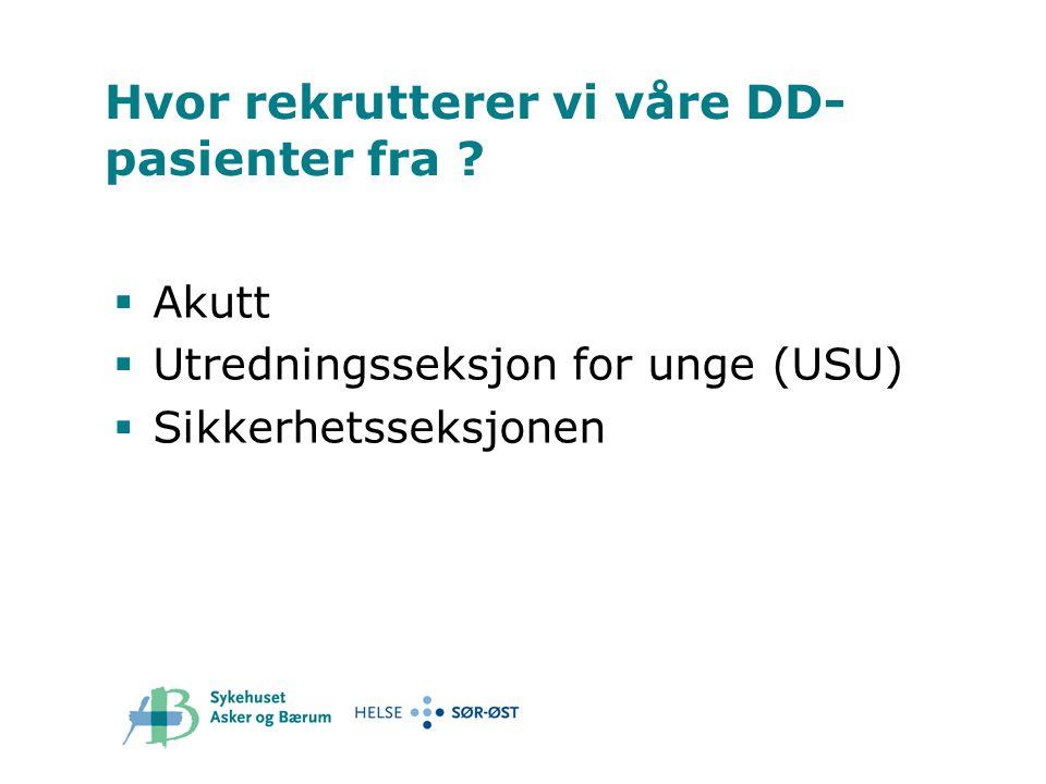 Hvor rekrutterer vi våre DD- pasienter fra ?  Akutt  Utredningsseksjon for unge (USU)  Sikkerhetsseksjonen