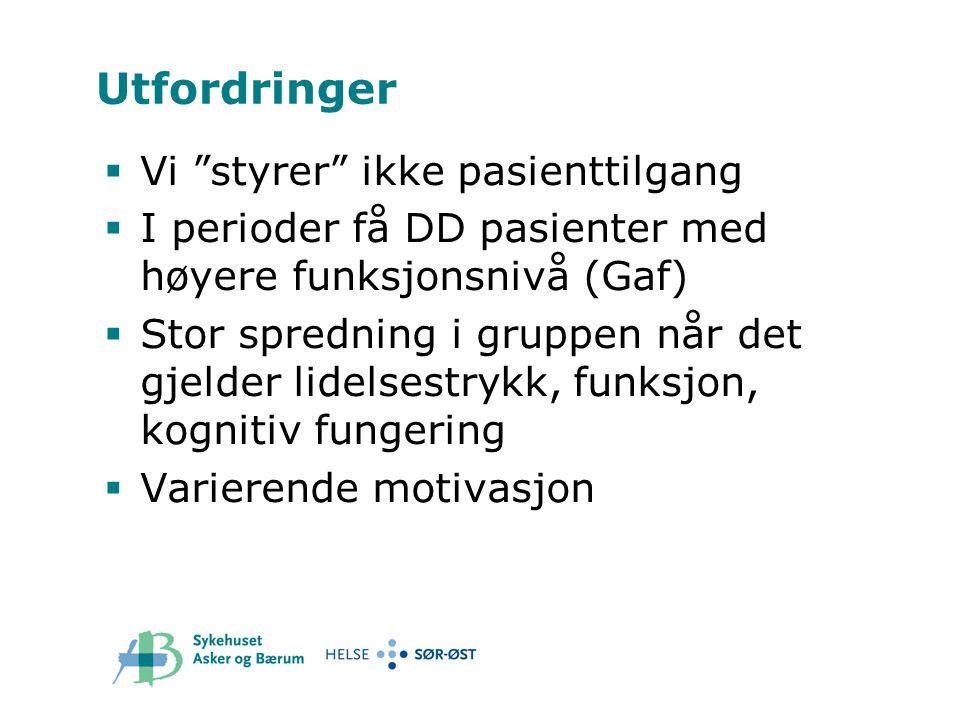 """Utfordringer  Vi """"styrer"""" ikke pasienttilgang  I perioder få DD pasienter med høyere funksjonsnivå (Gaf)  Stor spredning i gruppen når det gjelder"""