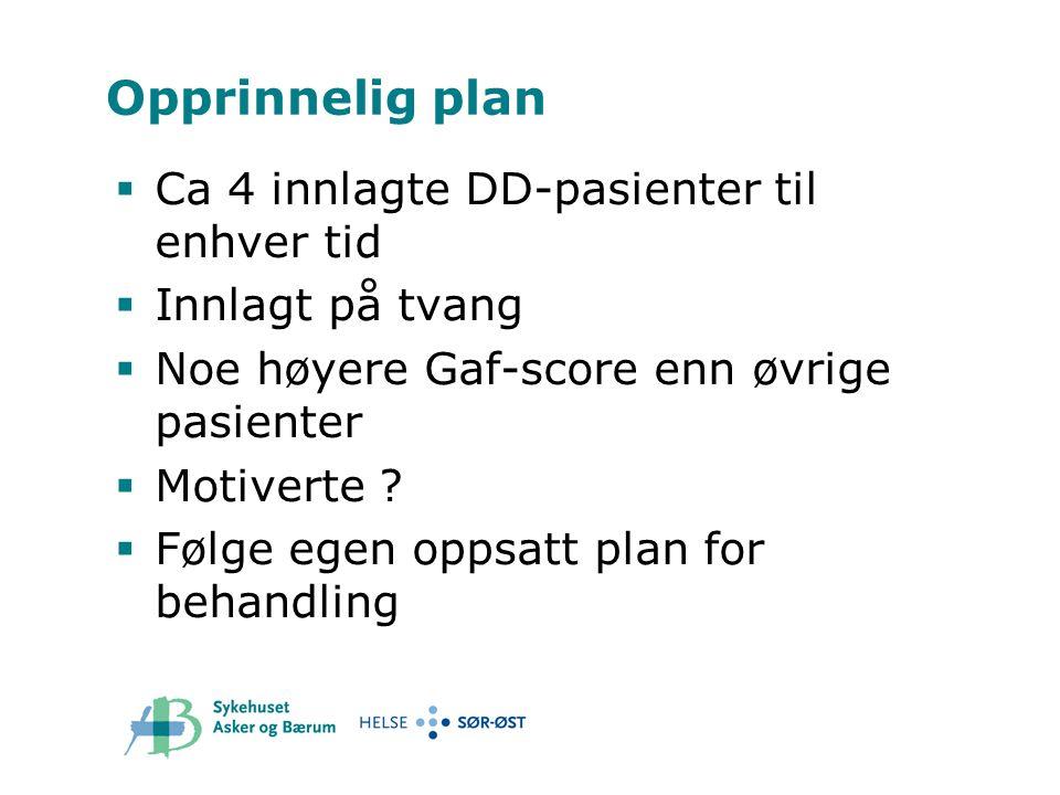 Opprinnelig plan  Ca 4 innlagte DD-pasienter til enhver tid  Innlagt på tvang  Noe høyere Gaf-score enn øvrige pasienter  Motiverte ?  Følge egen