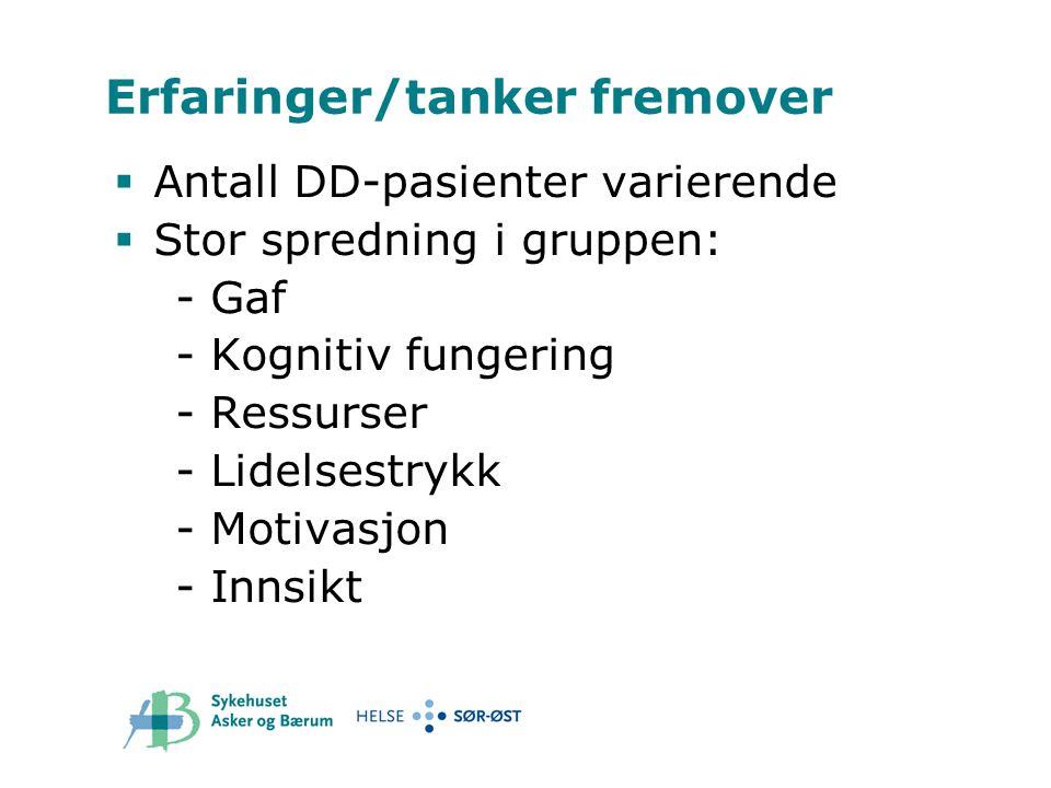 Erfaringer/tanker fremover  Antall DD-pasienter varierende  Stor spredning i gruppen: - Gaf - Kognitiv fungering - Ressurser - Lidelsestrykk - Motiv