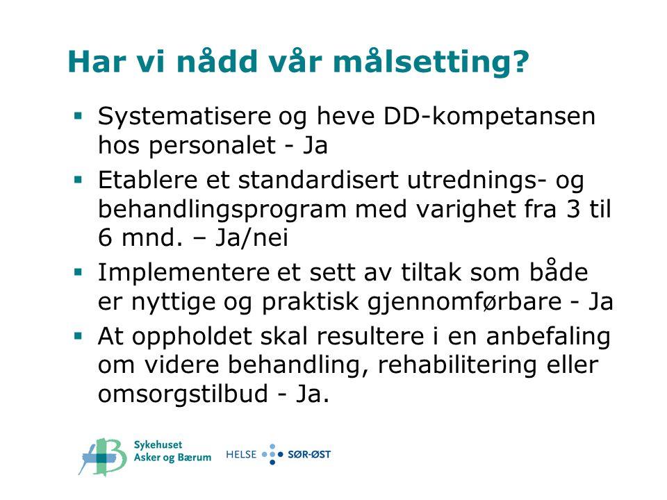 Har vi nådd vår målsetting?  Systematisere og heve DD-kompetansen hos personalet - Ja  Etablere et standardisert utrednings- og behandlingsprogram m