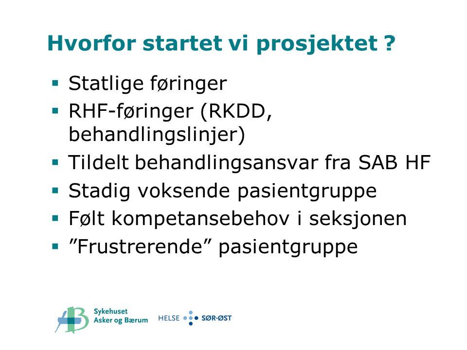 Hvorfor startet vi prosjektet ?  Statlige føringer  RHF-føringer (RKDD, behandlingslinjer)  Tildelt behandlingsansvar fra SAB HF  Stadig voksende