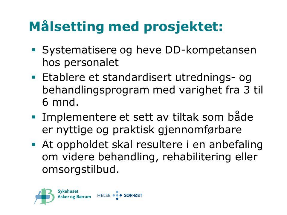 Målsetting med prosjektet:  Systematisere og heve DD-kompetansen hos personalet  Etablere et standardisert utrednings- og behandlingsprogram med var
