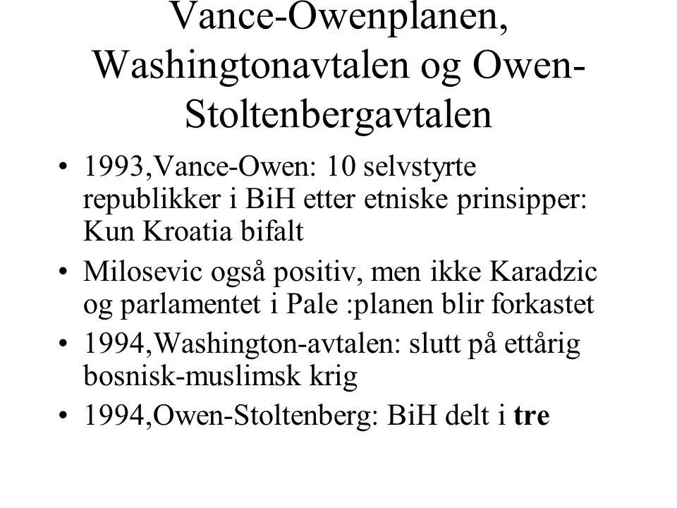 Vance-Owenplanen, Washingtonavtalen og Owen- Stoltenbergavtalen •1993,Vance-Owen: 10 selvstyrte republikker i BiH etter etniske prinsipper: Kun Kroati