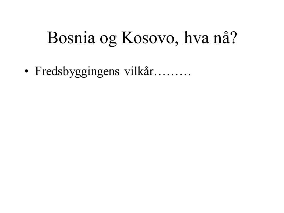 Bosnia og Kosovo, hva nå? •Fredsbyggingens vilkår………