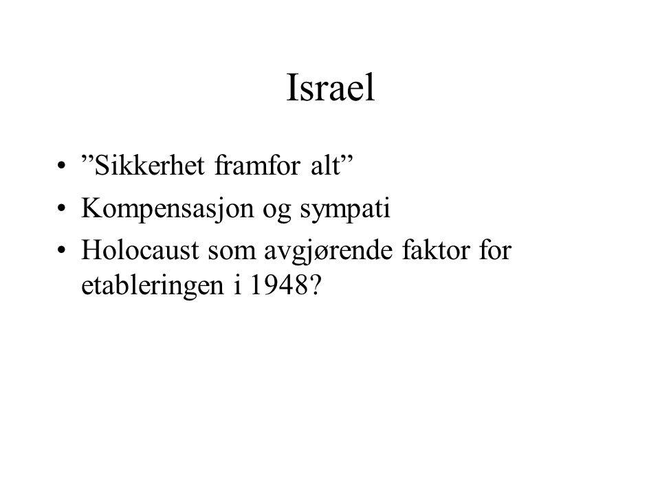 """Israel •""""Sikkerhet framfor alt"""" •Kompensasjon og sympati •Holocaust som avgjørende faktor for etableringen i 1948?"""
