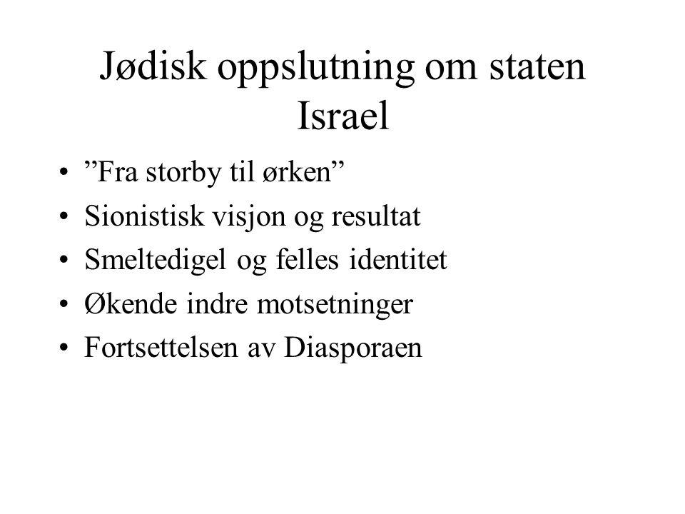 """Jødisk oppslutning om staten Israel •""""Fra storby til ørken"""" •Sionistisk visjon og resultat •Smeltedigel og felles identitet •Økende indre motsetninger"""