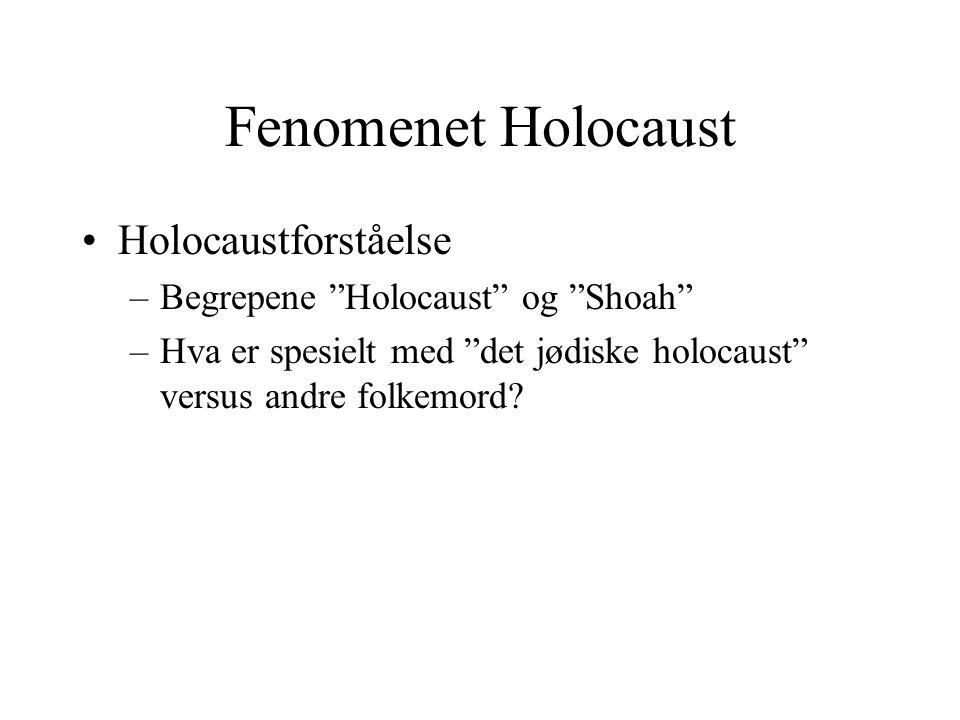 """Fenomenet Holocaust •Holocaustforståelse –Begrepene """"Holocaust"""" og """"Shoah"""" –Hva er spesielt med """"det jødiske holocaust"""" versus andre folkemord?"""