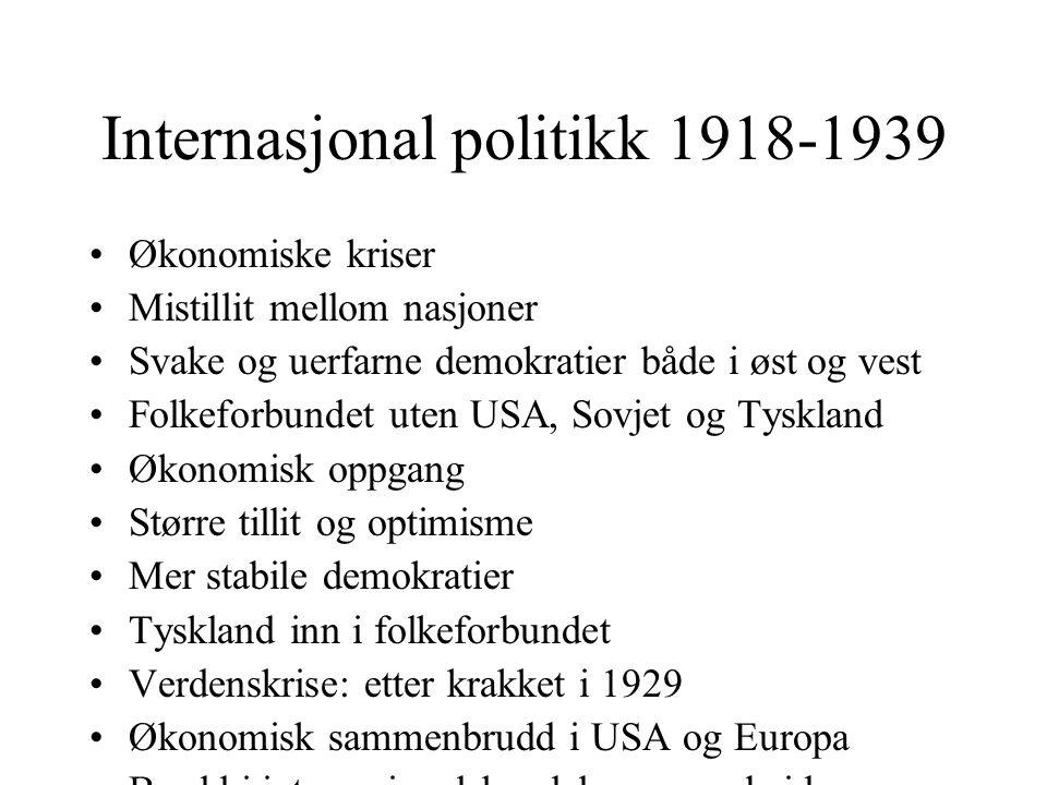 Internasjonal politikk 1918-1939 •Økonomiske kriser •Mistillit mellom nasjoner •Svake og uerfarne demokratier både i øst og vest •Folkeforbundet uten