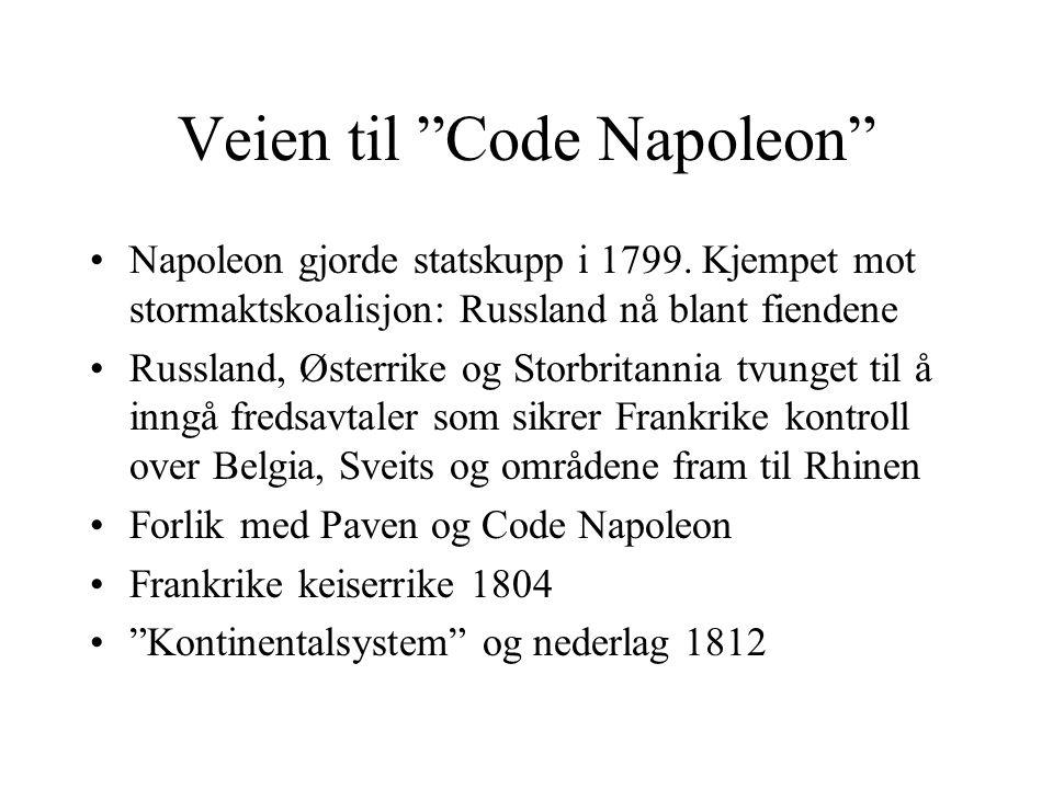 """Veien til """"Code Napoleon"""" •Napoleon gjorde statskupp i 1799. Kjempet mot stormaktskoalisjon: Russland nå blant fiendene •Russland, Østerrike og Storbr"""