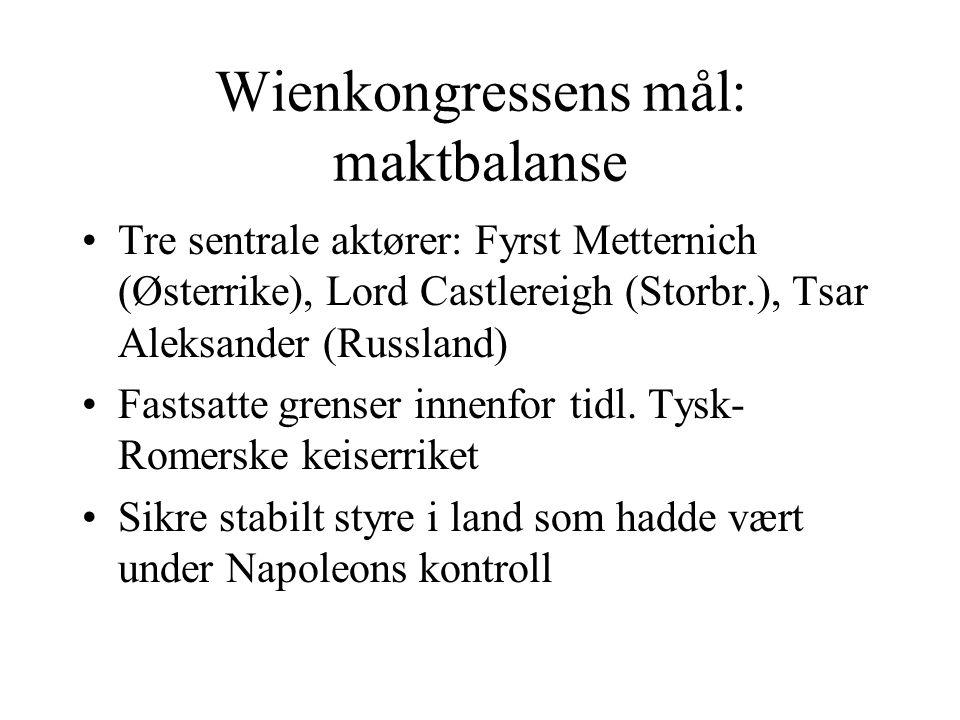 Wienkongressens mål: maktbalanse •Tre sentrale aktører: Fyrst Metternich (Østerrike), Lord Castlereigh (Storbr.), Tsar Aleksander (Russland) •Fastsatt